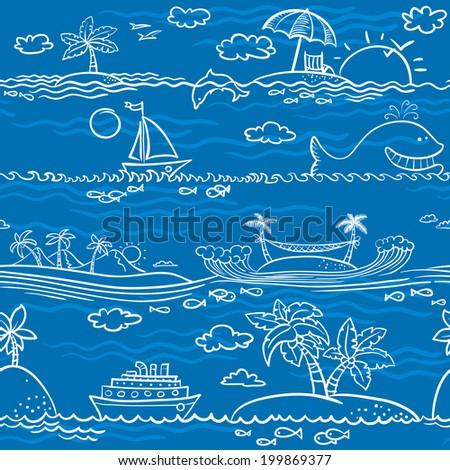 Line art sea summer seamless pattern - stock vector