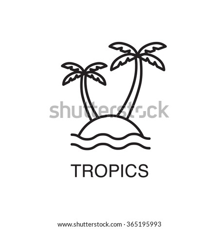 Line art tropical island with palm trees and ocean waves.Summer vacation concept. - stock vector