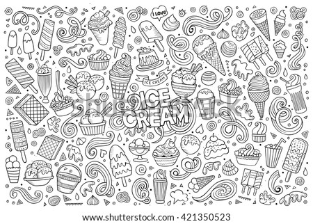 Line art vector hand drawn doodle cartoon set of ice-cream objects and symbols - stock vector