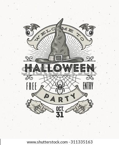Line art vector illustration for Halloween party - stock vector