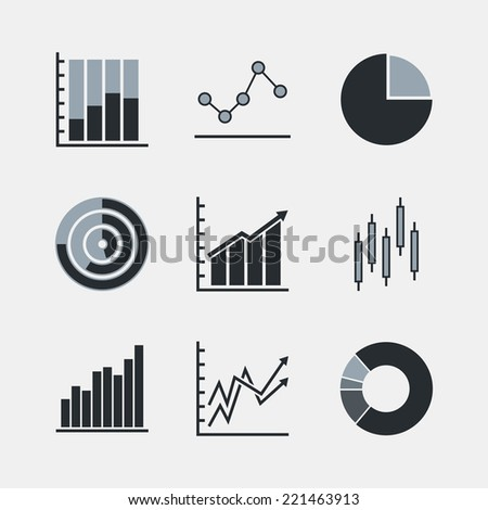 Line chart and diagram duotone icons. Isolated on white background. Vector illustration, eps 8. - stock vector