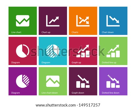 Line chart and Diagram icons on color background. Vector illustration. - stock vector