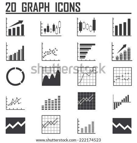 Line chart and Diagram  icons on white background. Vector illustration. - stock vector