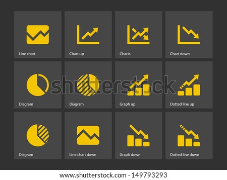 Line chart and Diagram icons. Vector illustration. - stock vector