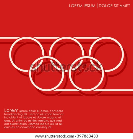 Line circles on red background. Linked circles. Cover brochures, flyer, card design template. Vector illustration - stock vector