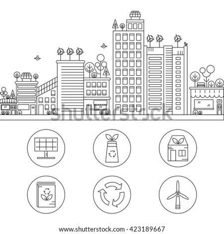 Line design vector illustration with ecology city. Green city concept with eco icons. Green energy - green house, wind turbines, solar panels. - stock vector