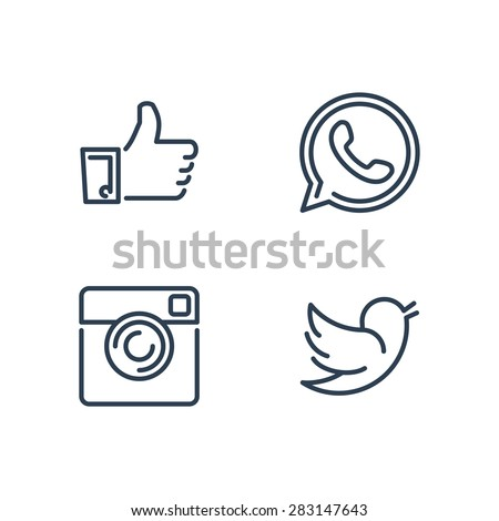 Line designed vector icons of like, handset, camera and bird for social media, websites, interfaces - stock vector