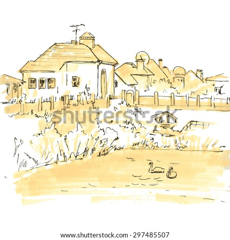 line drawing countryside, sketch of village, houses, gardens and a lake, monochrome hand drawn vector illustration - stock vector