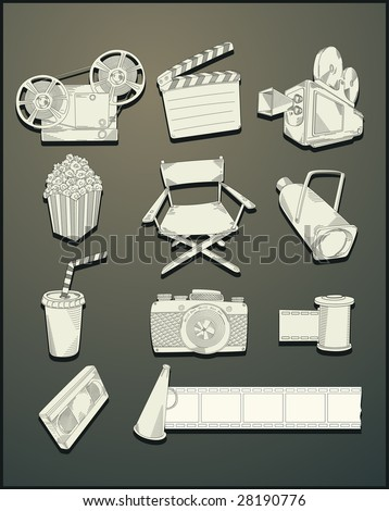 line drawing movie objects- vector - stock vector
