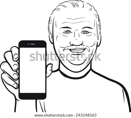 line drawing of a senior man showing a mobile app on a smart phone - stock vector
