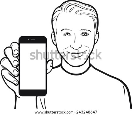 line drawing of a smiling young man showing a mobile app on a smart phone - stock vector