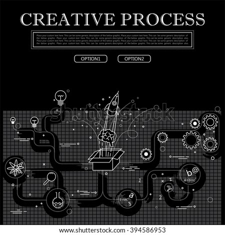 line drawing of concept of creative process vector graphic in black and white. also represents creativity, innovation, inventiveness, etc to be used web banners and as printed materials - stock vector