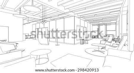 Line drawing of the office interior on a white background - stock vector