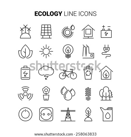 Line ecology icons. Vector set. Power line icons. Eco power line icons. Ecology line icons. Ecology vector line icons. Alternative energy line icons. Renewable energy line icons. Eco line icons - stock vector
