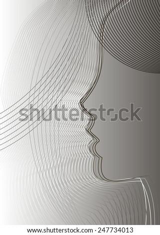 line face icon symbol head sketch human - stock vector