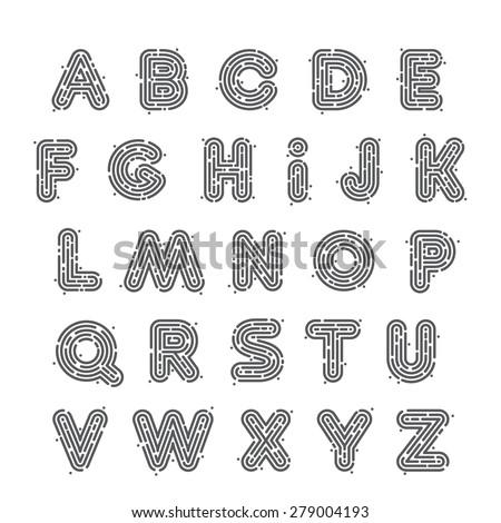 Line fingerprint english alphabet letters set. Font style, vector design template elements. - stock vector