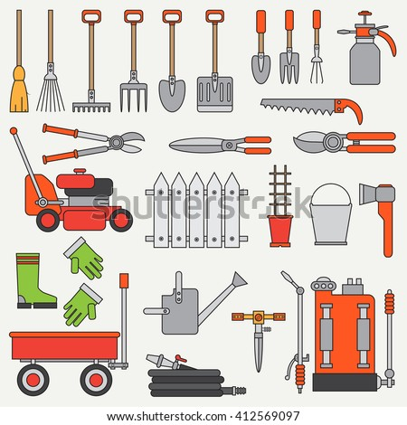 Vintage garden tools stock vectors vector clip art for Gardening tools cartoon