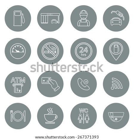 Line gas station icons. Service fuel glyph icons. Vector illustration - stock vector