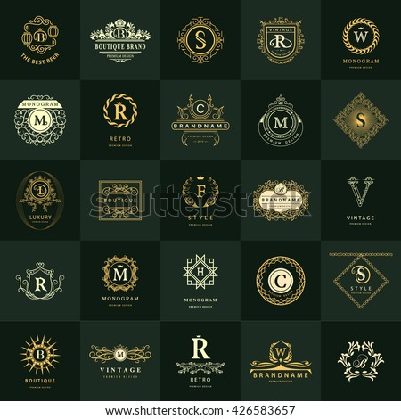 Line graphics monogram. Vintage Logos Design Templates Set. Business sign Letter emblem. Vector logotypes elements collection, Icons Symbols, Retro Labels, Badges, Silhouettes. Premium Collection - stock vector