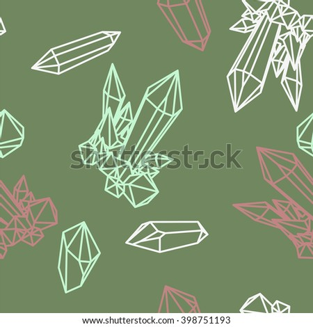Line green crystals, outline crystals on green. seamless pattern crystal, crystal pattern, seamless pattern, abstract  geometric seamless pattern, crystals on green, line pattern - stock vector