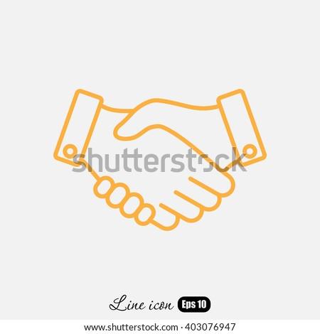 Line icon-   handshake - stock vector