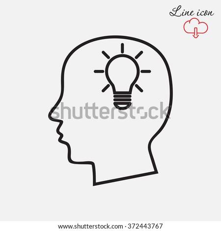 Line icon- Idea concept - stock vector