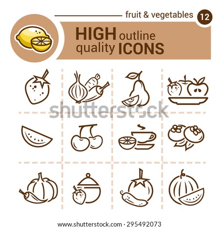Line icon of fruit and vegetables, vector set. - stock vector
