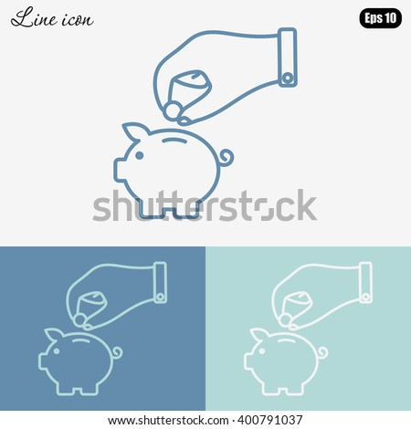 Line icon- piggy bank and hand - stock vector
