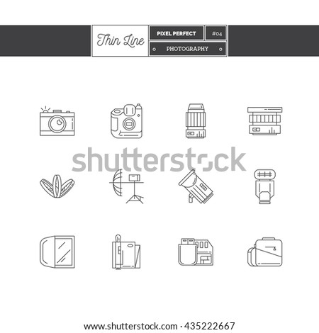 Line Icon Set of Photography objects and tools elements. Photo equipment logo icons. Vector illustration. Logo icons vector illustration - stock vector