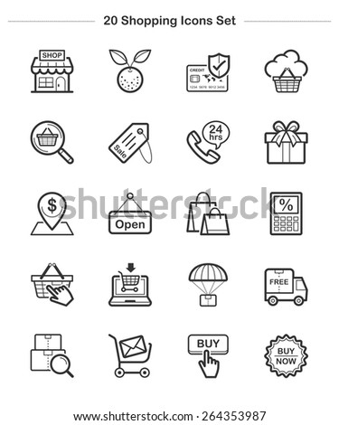 Line icon - Shopping, Bold - stock vector