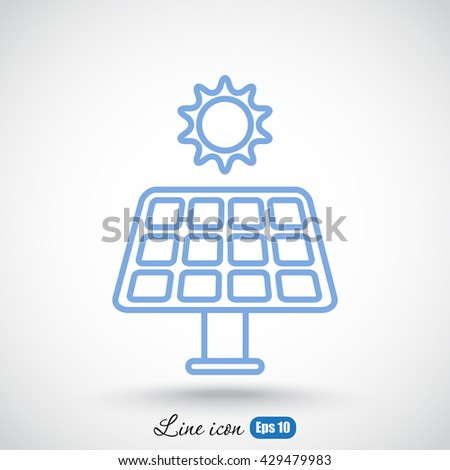 Line icon- solar panel - stock vector