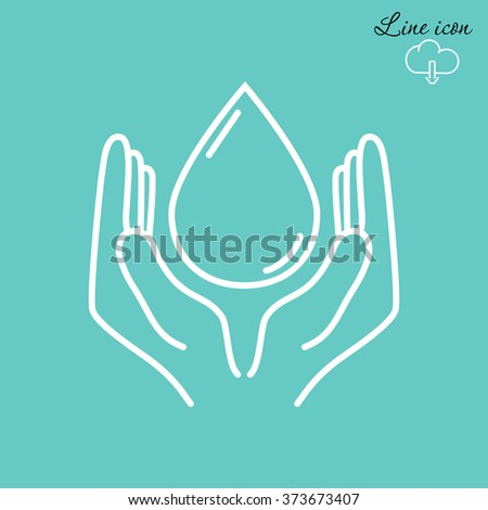 Line icon- water  save - stock vector