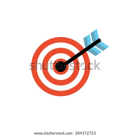 Line Icon with Flat Graphics Element of  Target Vector Illustration EPS10 - stock vector