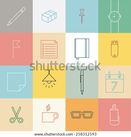 Line icons set, flat design of stationery and office element items.  - stock vector