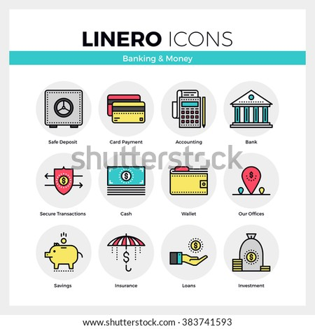 Line icons set of banking services and money savings. Modern color flat design linear pictogram collection. Outline vector concept of mono stroke symbol pack. Premium quality web graphics material. - stock vector