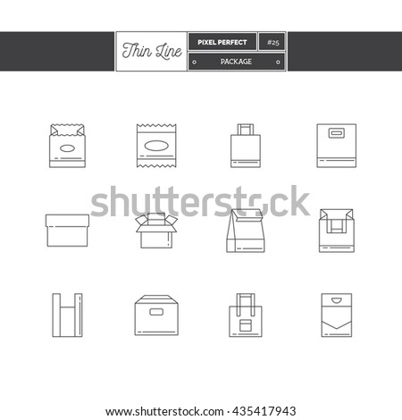 Line Icons Set of Boxes and package objects, tools elements. Craft box, paper bag, cotton bag, plastic bag, individual packing. Logo icons vector illustration - stock vector