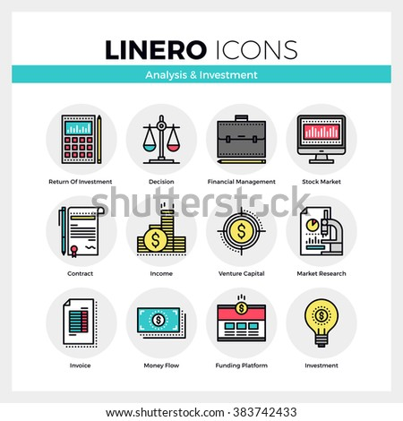 Line icons set of business analysis and market investment. Modern color flat design linear pictogram collection. Outline vector concept of stroke symbol pack. Premium quality web graphics material. - stock vector