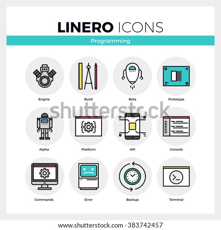 Line icons set of computer programming and software develop. Modern color flat design linear pictogram collection. Outline vector concept of stroke symbol pack. Premium quality web graphics material. - stock vector