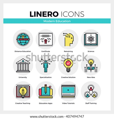 Line icons set of education certificate, skill retraining. Modern color flat design linear pictogram collection. Outline vector concept of mono stroke symbol pack Premium quality web graphics material - stock vector