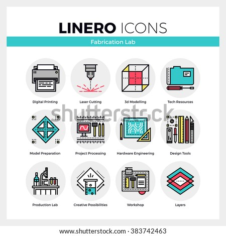 Line icons set of fabrication laboratory hardware engineering. Modern color flat design linear pictogram collection. Outline vector concept of stroke symbol pack. Premium quality web graphics material - stock vector
