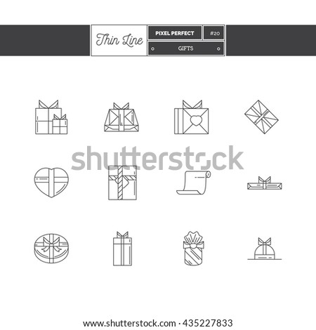 Line Icons Set of Gift, Box. Vector illustration - stock vector