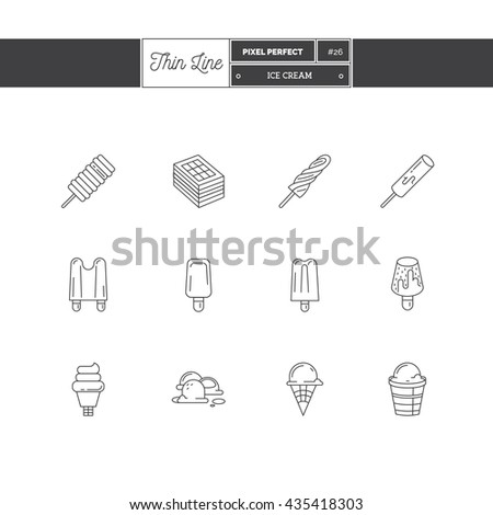 Line Icons Set of Ice Cream objects. Ice cream desserts, fruit ice. Logo icons vector illustration - stock vector