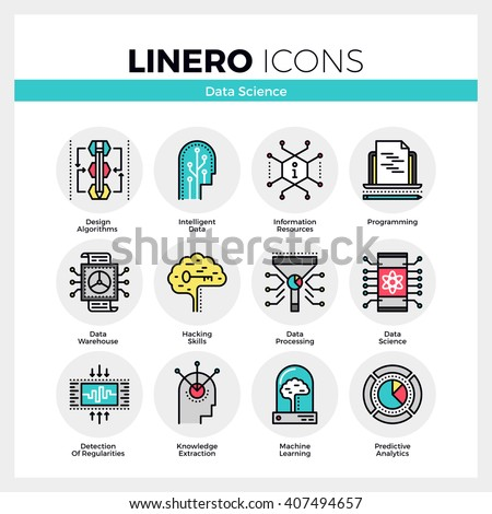 Line icons set of intelligent data science, machine learning. Modern color flat design pictogram collection. Outline vector concept of mono stroke symbol pack. Premium quality web graphics material. - stock vector