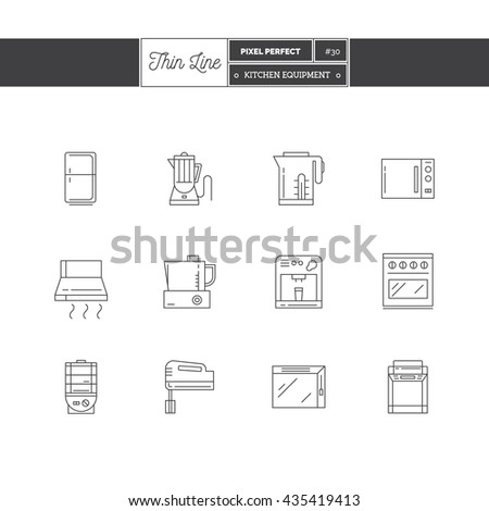 Line Icons Set of Kitchen Equipments objects, tools and elements. Coffee maker, blender, fridge, cooker, bread maker, kettle, food processor, toaster, refrigerator, Logo icons vector illustration - stock vector