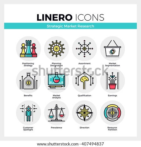 Line icons set of market research strategy, focus on profit. Modern color flat design  pictogram collection. Outline vector concept of mono stroke symbol pack. Premium quality web graphics material. - stock vector