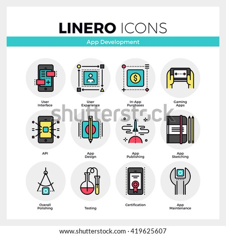 Line icons set of mobile application development process. Modern color flat design linear pictogram collection. Outline vector concept of mono stroke symbol pack. Premium quality web graphics material - stock vector