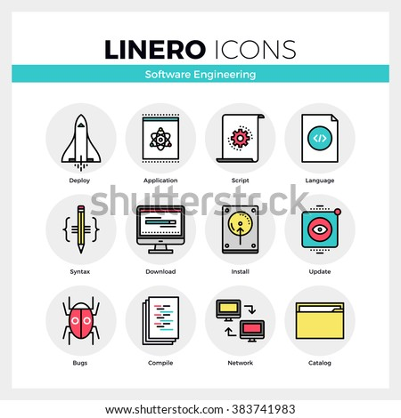 Line icons set of software engineering tools for app debug. Modern color flat design linear pictogram collection. Outline vector concept of stroke symbol pack. Premium quality web graphics material. - stock vector