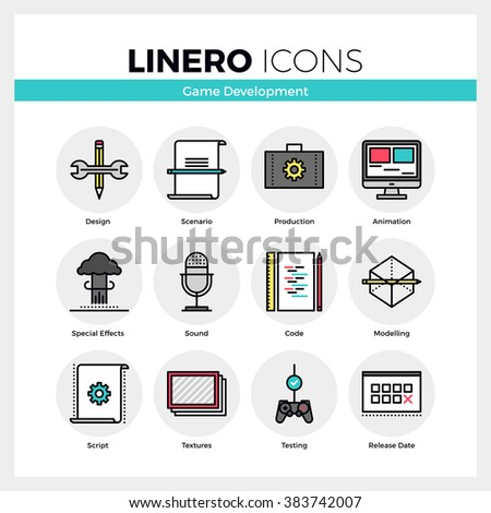 Line icons set of video game development making process. Modern color flat design linear pictogram collection. Outline vector concept of mono stroke symbol pack. Premium quality web graphics material. - stock vector
