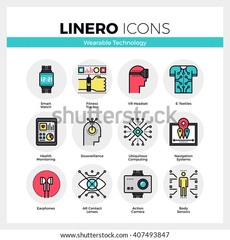 Line icons set of wearable technology, internet of things. Modern color flat design linear pictogram collection. Outline vector concept of mono stroke symbol pack Premium quality web graphics material - stock vector