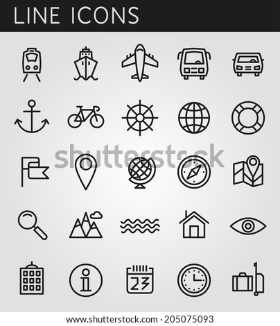 Line icons set. Summer holidays, vacation and travel objects. Vector web design elements - stock vector